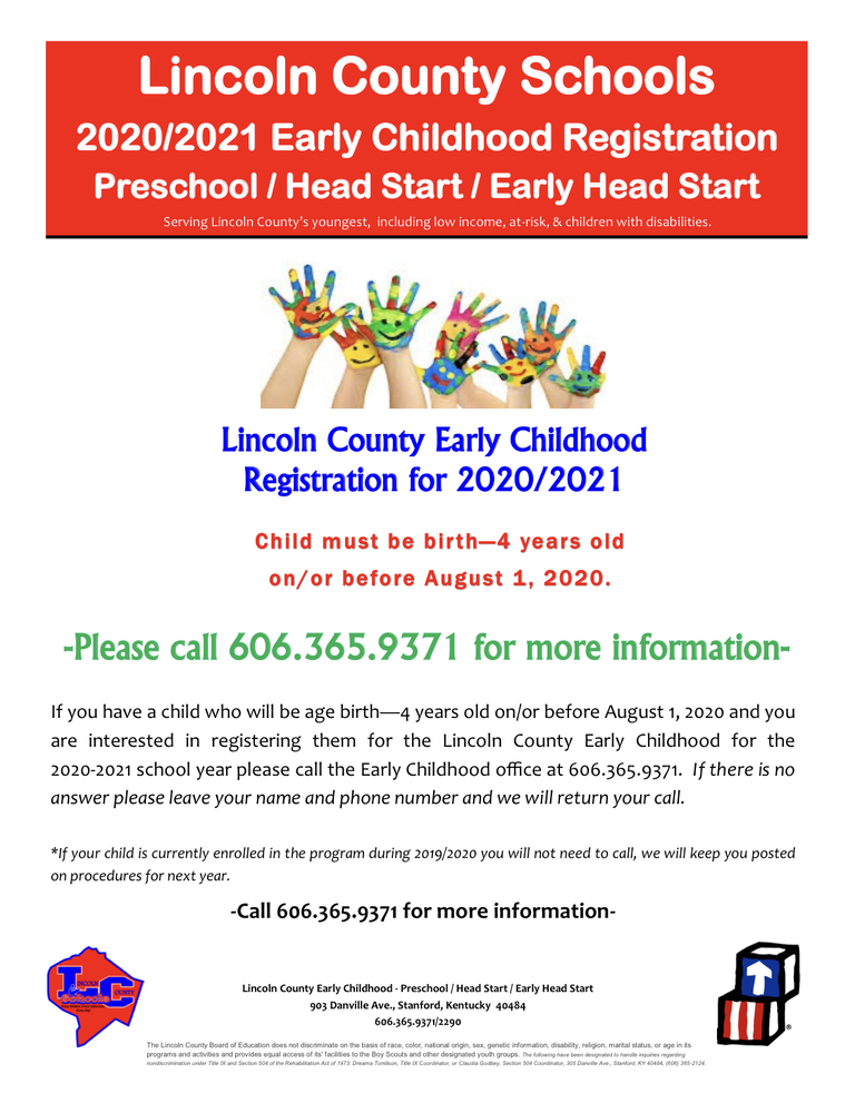 2020-21 Lincoln County Early Childhood Registration