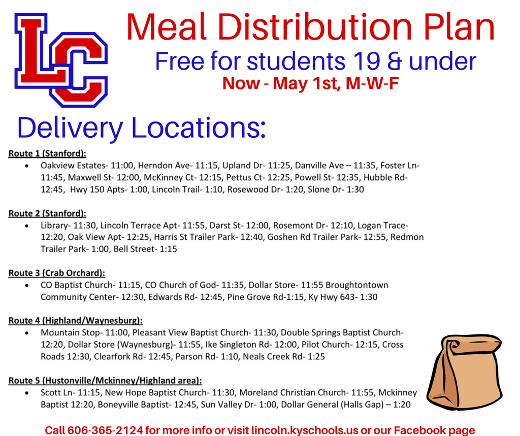 Meal distribution flyer.