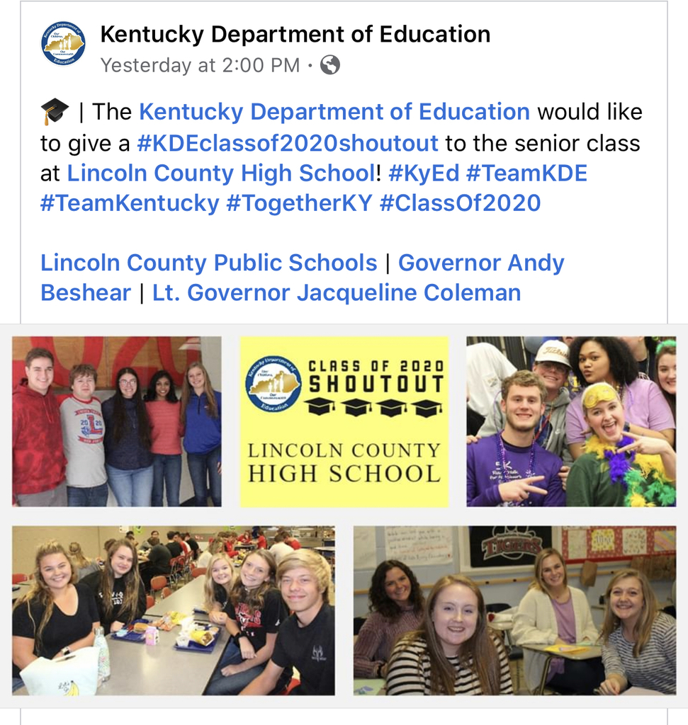 A Facebook post by KDE with pictures of LCHS class of 2020 seniors.