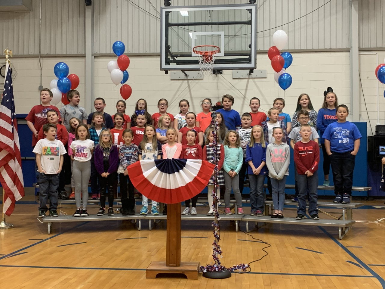Veteran's Day Program-Students singing on stage